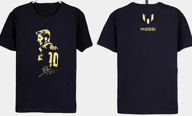bc9e6d0d4 Men s Short sleeve t-shirt Lionel Messi figure autograph Barcelona Camp Nou  Champion jersey Argentina