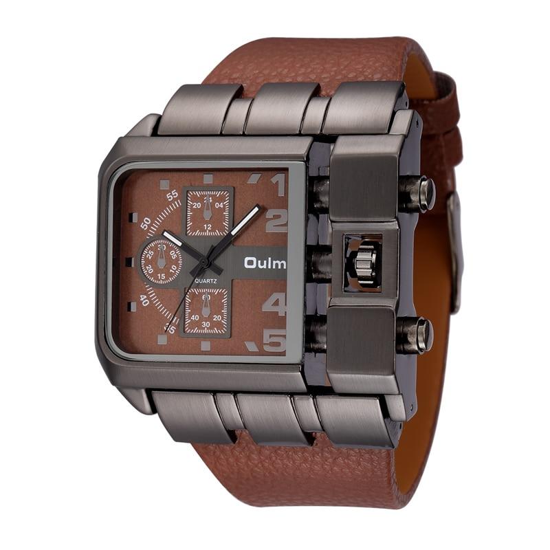 OULM Brand Original Unique Design Square Men Wristwatch Wide Big Dial Casual Leather Strap Quartz Watch Male Sport Watches