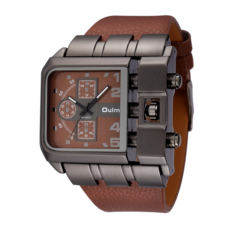 OULM Brand Original Unique Design Square Men Wristwatch Wide Big Dial Casual Leather Strap Quartz Watch Male Sport Watches цена