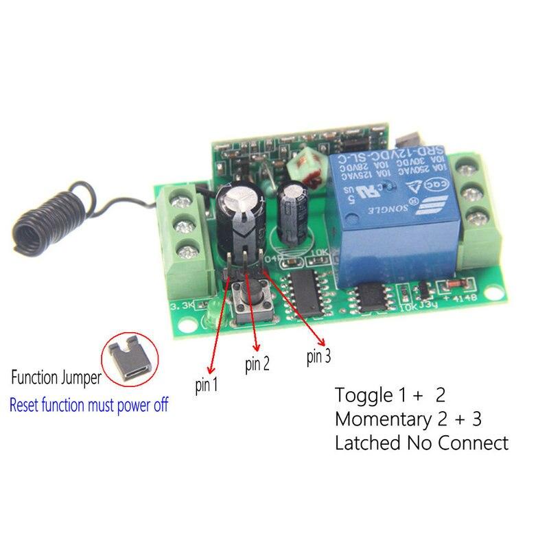 Wireless RF Fernbedienung Lichtschalter 10A Relaisausgang Radio DC 9 ...
