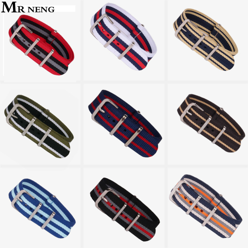 MR NENG Brand New nato strap 18mm 20mm 22mm watch band Nylon Watch Bracelet Strap Wristwatch Band Buckle Canvas fabric watchband top quality new stainless steel strap 18mm 13mm flat straight end metal bracelet watch band silver gold watchband for brand