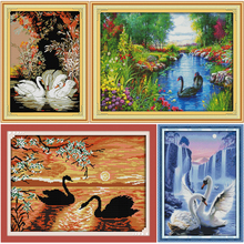 Beautiful Swans in the lake Printed Canvas DMC Counted Cross Stitch Kits printed Cross-stitch set Embroidery Needlework