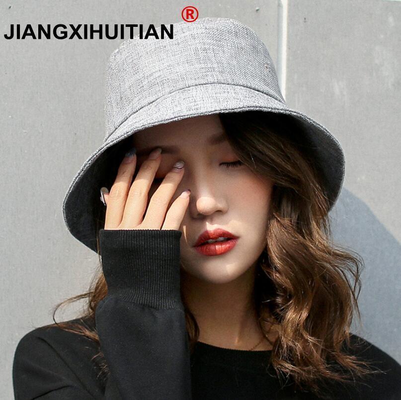 2018 New Women's Cotton Linen Sun Hats Summer Beach Hat Panama Caps 5 Solid Colors