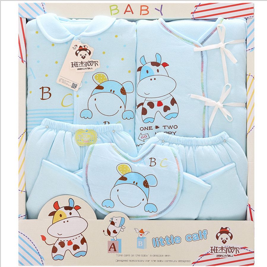 100% cotton newborn baby winter clothing  set Cotton-padded jacket and pants 5 pieces gift set fashion character warm suit 0cm in diameter large space baby hand footed printing mud set newborn baby hand and foot print hundred days old gift souvenir