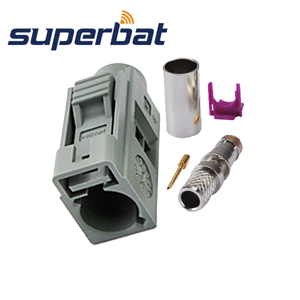 Superbat Fakra G Grey Crimp Jack Female Connector Remote Control Keyless Entry For Coaxial Cable RG58 LMR195