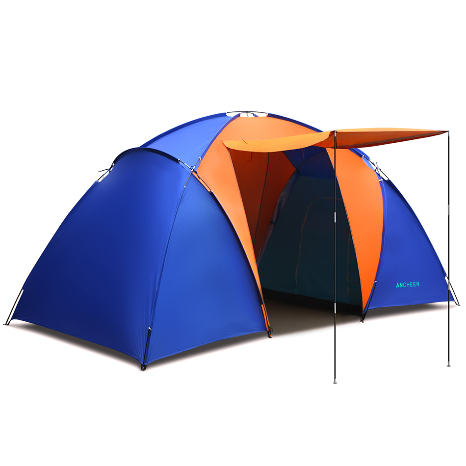 New ANCHEER Waterproof UV Outdoor Hiking Tents 2 Rooms 4~6 persons Camping Tent Family Tent Pack with Carrying Bag Camping waterproof party family tent 6 8 10 12 outdoor camping tent sun shelter party family hiking camping tent