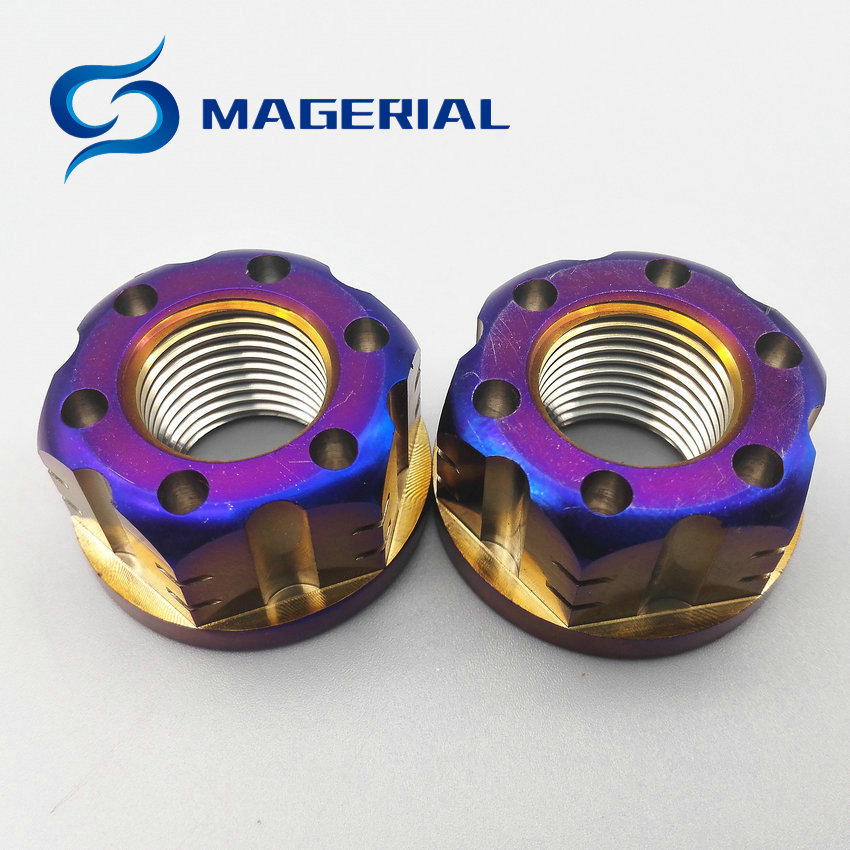2 pcs Ti Rear Axle Nut M16 M18 Pitch 1.5mm Titanium Flange Nut Burned Ti and Blue Color Hexagon titanium screw Nuts Ti fastener цены