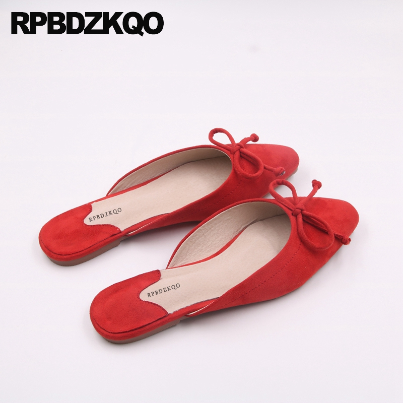 Women Flats Shoes With Little Cute Bowtie Bow Suede Slides Kawaii Large Size Red Slippers Square Toe 10 Grey Chinese Mules 11