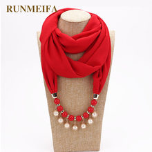 RUNMEIFA Nacklace Pendant Scarf New Design Chiffon Solid Color Scarf Women Scarf Genuine Pearl Leaves Made Of Resin(China)