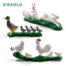 3pcs DIY Simulation Chicken Duck Rabbit figurine animal Model home decor miniature fairy garden decoration accessories modern