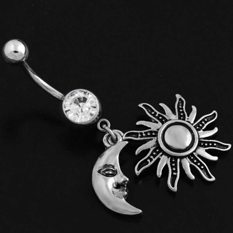 Vintage Women Sexy Dangle Sun Moon Navel Button Rings Belly Piercing Surgical Steel Belly Dance Bars Body Jewelry Piercing