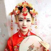 Angelababy Married With A Chinese Wedding Bride Costume Wu Xiu He Wear Cheongsam Coronet Tiara