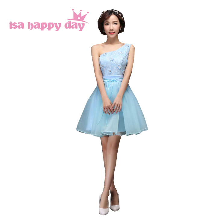 new robe de soiree one shoulder puffy light blue tulle fluffy fitted   prom     dresses   birthday occasion tiers tulle   dress   H3507