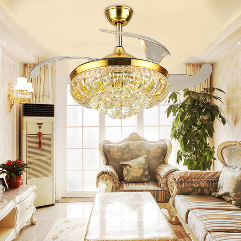 42 inch apartment hotel restaurant fan light European LED invisible silent fan light