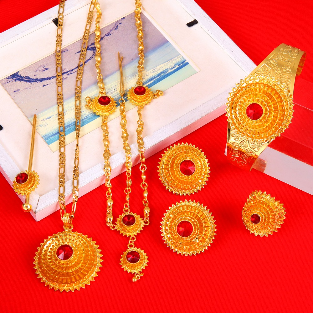 Ethiopian Gold Plated Hair Piece Pendant Chain Earings Ring Hair Pin Bracelet Eritrea Africa Habesha Wedding