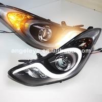 For Hyundai Avante I35 Elantra LED Head Lights With Projector Lens 2012 2014 Years LD V2