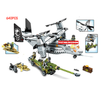 Modern military war black gold The Osprey transport aircraft field howitzer building block army figures motorcycle bricks toys