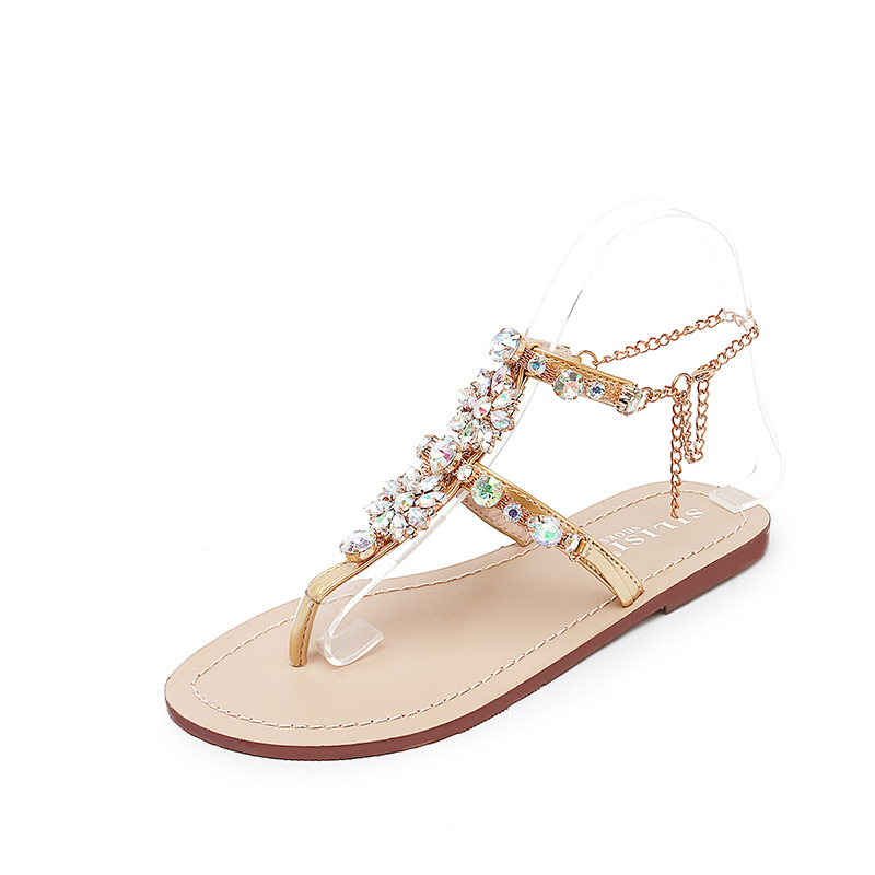 2018 Woman Sandals Flat Sandals Fashion Rhinestones Chains Shoes Gladiator Flat Sandals  ...