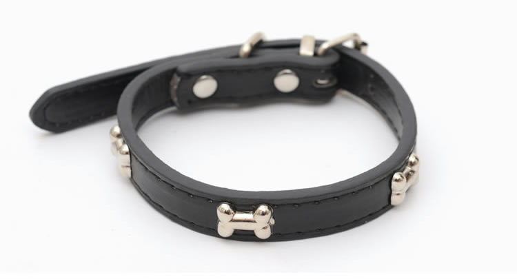 5 Colors Bone Pet Dog Collar Durable PU Leather Adjustable Puppy Cat Strap Collar S/M/L/XL 1.5cm