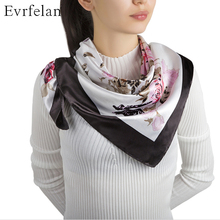 Evrfelan 90x90cm New Brand Autumn Winter Women Fashion Silk Scarf Print Flower Square Satin Scarves Big Size Shawl Neckerchief