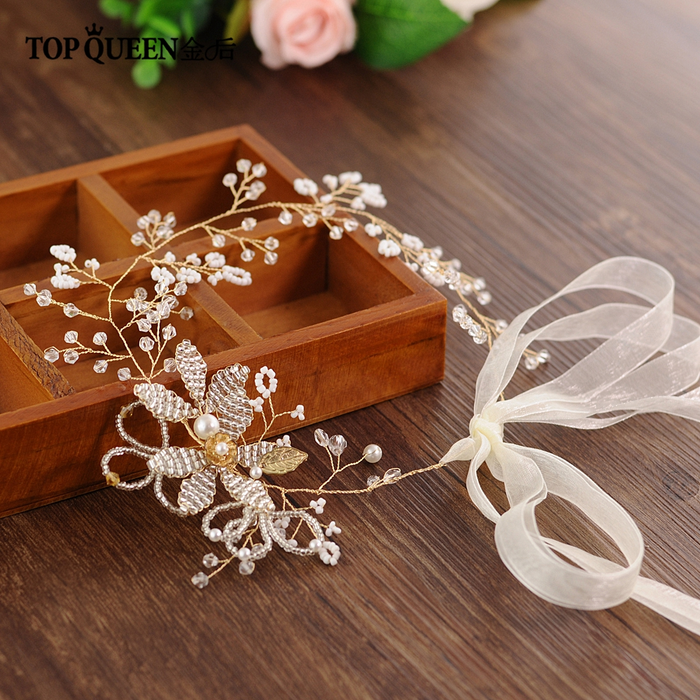 TOPQUEEN HP68 Wedding Hair Vine Wedding Hair Accessories Pearl And Crystal Beaded A Large Flowers Bridal Headband Party Jewelry