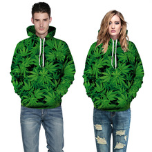The New Personality Patterns of Green Plants Leisure Digital Printing Couples Streetwear Mens Hoodie Womens Sweatshirts
