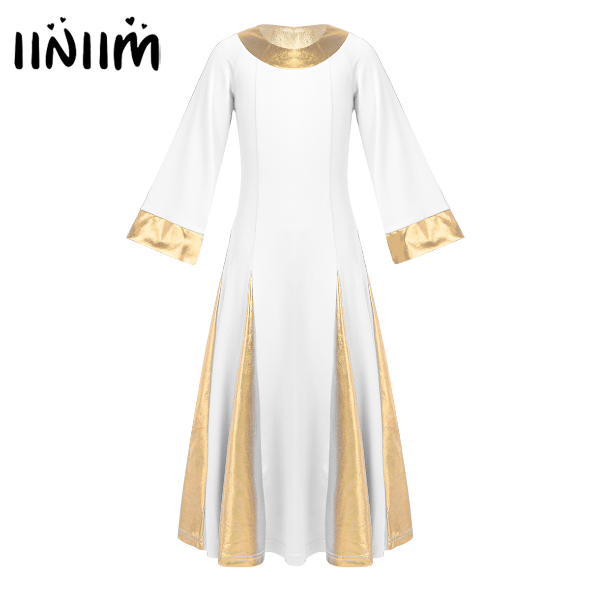 Iiniim Girls Dance Dress Contemporary Dance Costumes Kids Teen Metallic Collar Cuffs Robe Dress Celebration Praise Dance Dress