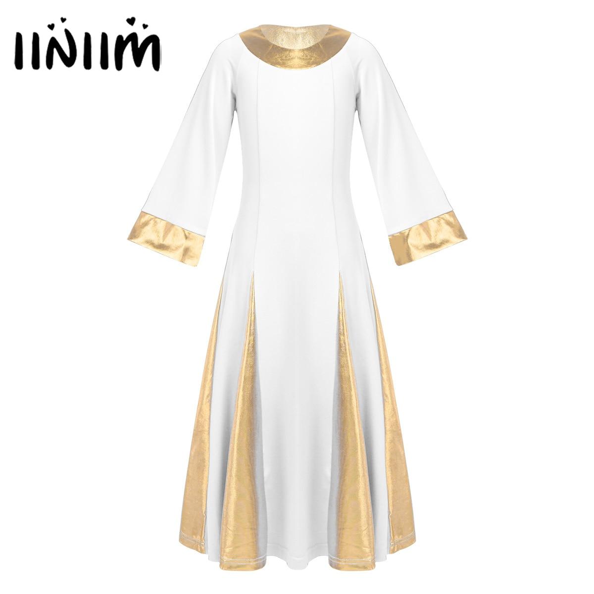Iiniim Girls Dance Dress Contemporary Dance Costumes Kids Teen Metallic Collar Cuffs Robe Dress Celebration Praise Dance Dress
