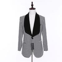 New Design Caual Men Blazer Jacket Men Plaid Fabric Full Sleeve Mens Blazers Coat Male One Button Dress Slim Fit Suit Coat Man