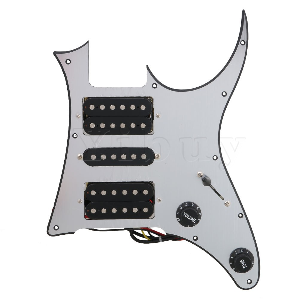 Yibuy 290 x 220 x 4MM Silver HSH Electric Guitar Loaded Prewired Pickup Pickguard for Electric Guitar yibuy gold vintage lipstick tube pickup for single coil electric guitar