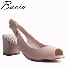 Bacia New Sheep Skin Sandals Genuine Leather Butterfly-knot shoes Peep toe Thick Heel Handmade Shoes For Women Size 35-41 VXB029