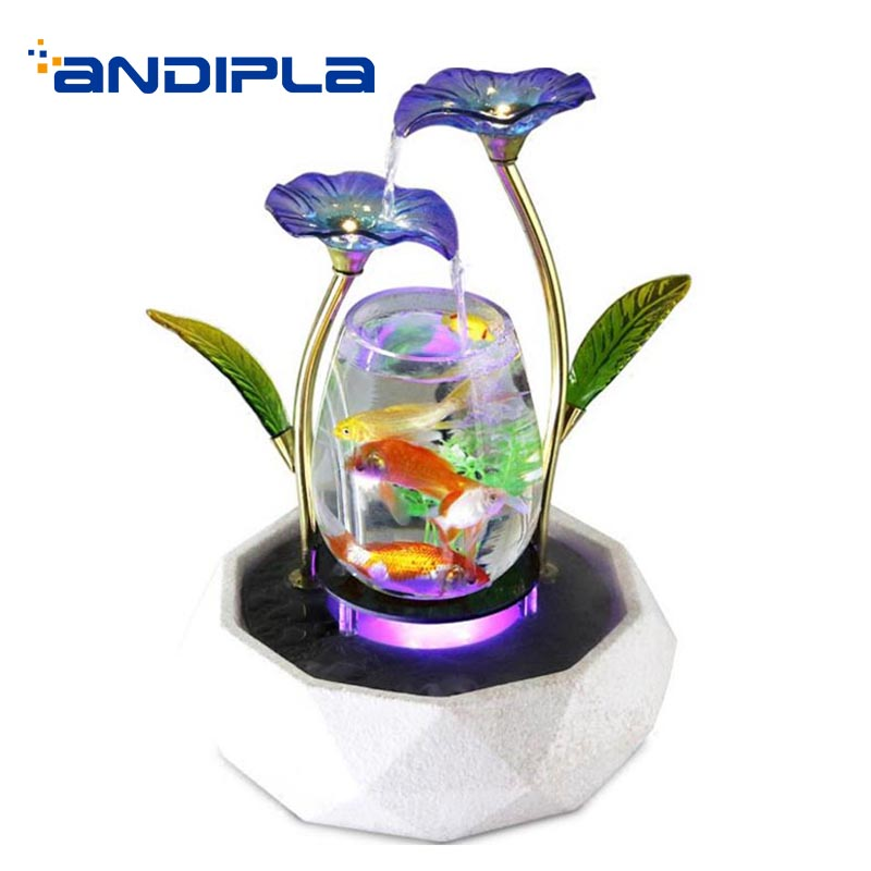 110/220V Creative Water Fountain Ceramic Fountain House Feng Shui Decoration Waterscape Crafts Glass Fish Tank for Birthday Gift