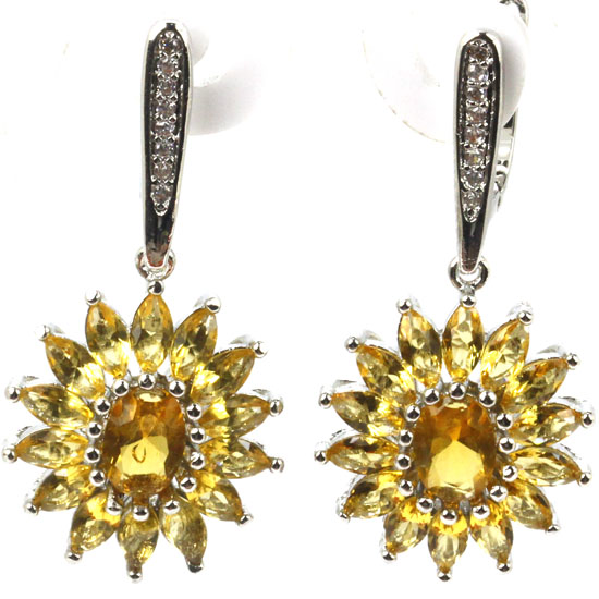 Ravishing Golden Citrine, White CZ Wedding Womans 925 Silver Earrings 37x16mm