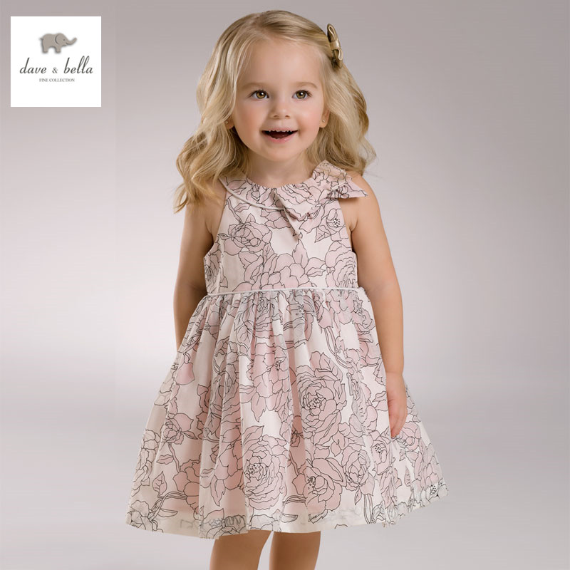 DB3426 dave bella summer baby girl pink roses flowers dress sleeveless floral dress princess dress best floral imprint sleeveless skater dress