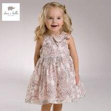 DB3426 дэйв белла лето девочка розовые розы цветы платье без рукавов цветочные платья принцессы платье