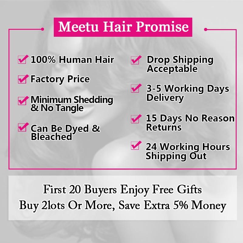 Meetu Malaysian Straight Hair Bundles med Lukke 3 Bundler Med Lukke - Skønhed forsyning - Foto 2