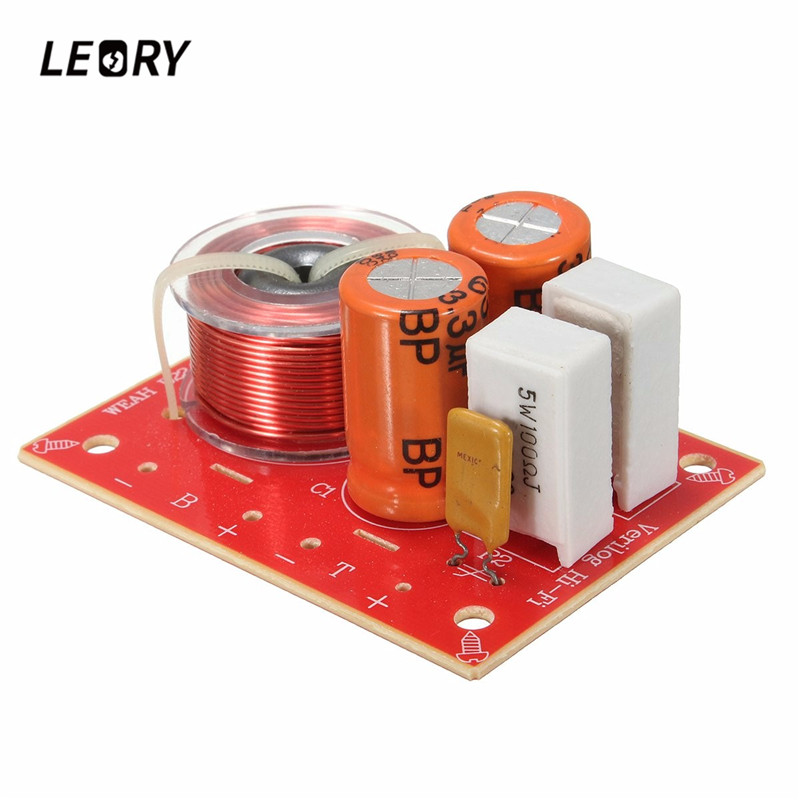 LEORY 2 Way Hi-Fi Audio Speaker Frequency Divider Treble Bass Stereo Crossover Filters