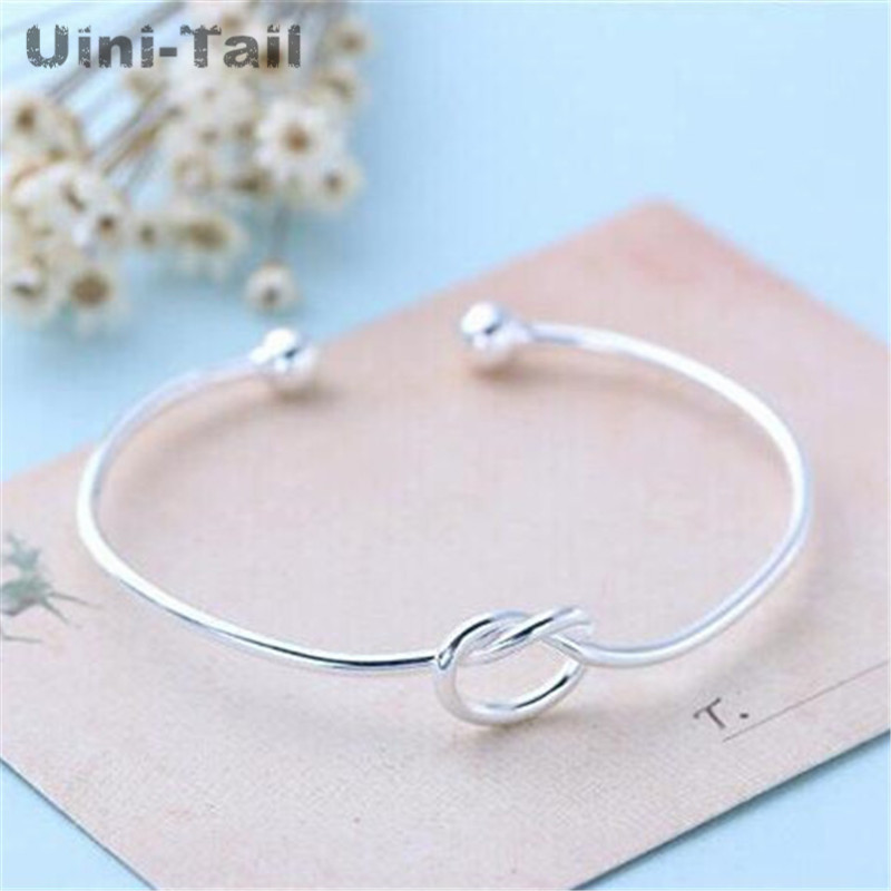 Hot 925 Sterling Silver Jewelry Simple heart-shaped Knot Slender Opening Female High-quality Popular Personality Bracelet