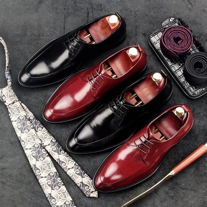 Luxury Italian Style Man Formal Dress Business Shoes Genuine Leather Wedding Oxfords Round Toe Derby Men's Party Flats GD82 hot sale italian style men s flats shoes luxury brand business dress crocodile embossed genuine leather wedding oxford shoes