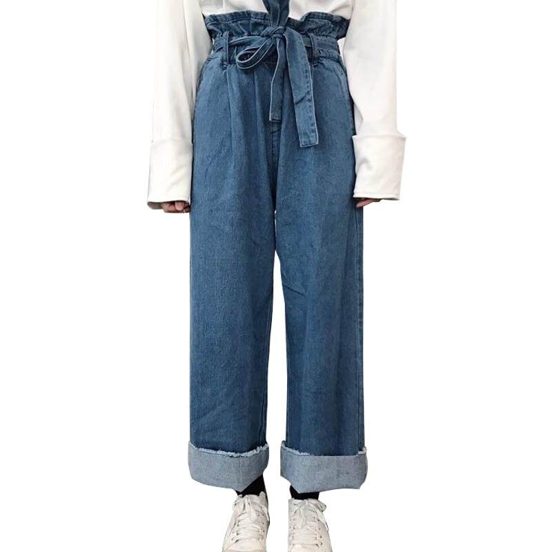 Korean Fashion Women`s High Waist Blue Denim   Pants   With Belt Vintage Style Jeans Femme Drawstring Crimping   Wide     Leg     Pants