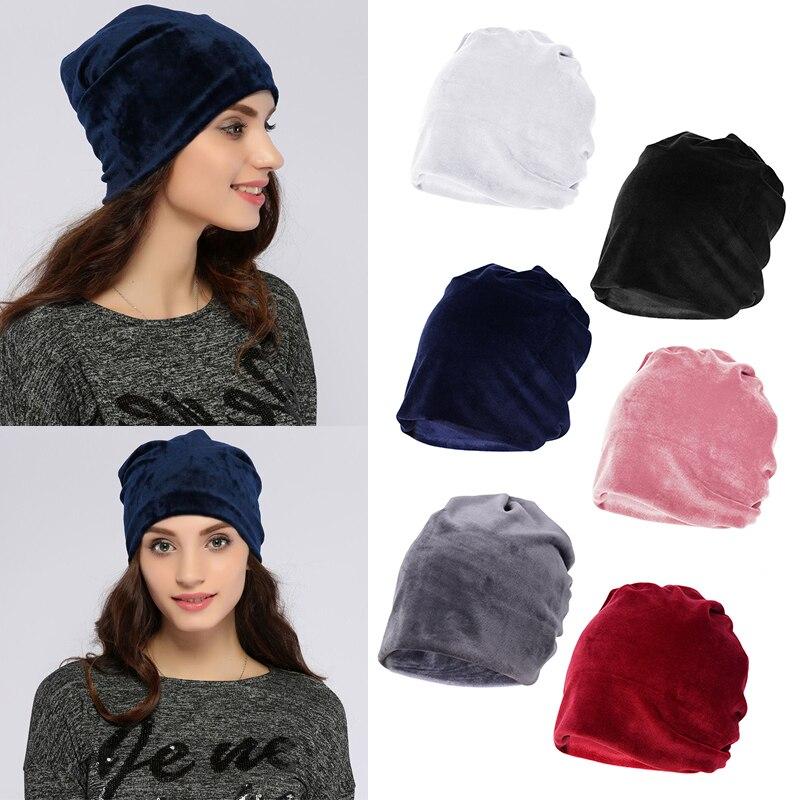 Velvet Hat Ring Scarf For Women Multifunctional Ponytail Beanie Hat Winter Skullies Beanies Warm Casual Female Caps Bonnet Femme beanie