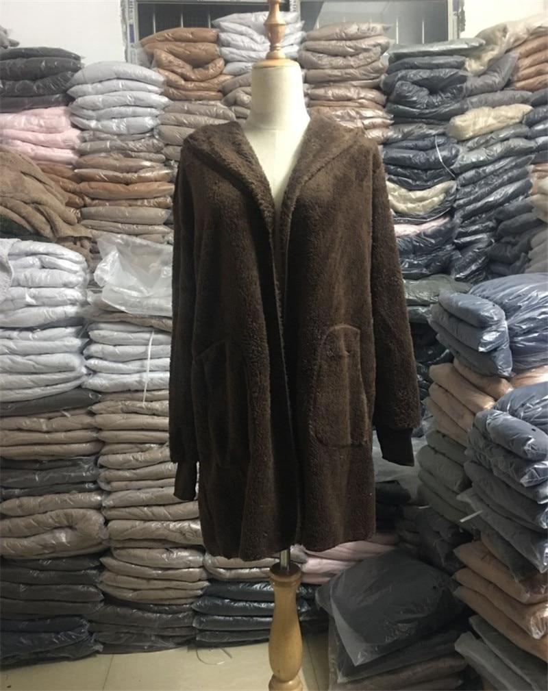 HTB1hbcKO4jaK1RjSZFAq6zdLFXab S-5XL Faux Fur Teddy Bear Coat Jacket Women Fashion Open Stitch Winter Hooded Coat Female Long Sleeve Fuzzy Jacket 2018 Hot New