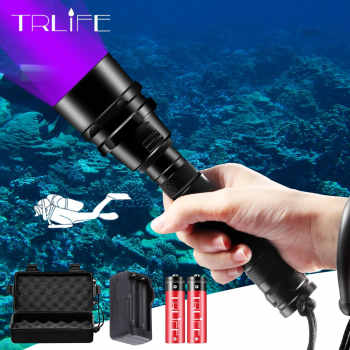 Diving LED Flashlight UV Scuba Ultraviolet 5/3 LED Lantern Purple Light Underwater 200M Dive Aluminum Torch 395nm Waterproof - Category 🛒 Lights & Lighting