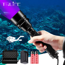 Linterna LED para buceo luz ultravioleta UV 5/3, luz púrpura subacuática de 200M, antorcha de aluminio para buceo, impermeable de 395nm