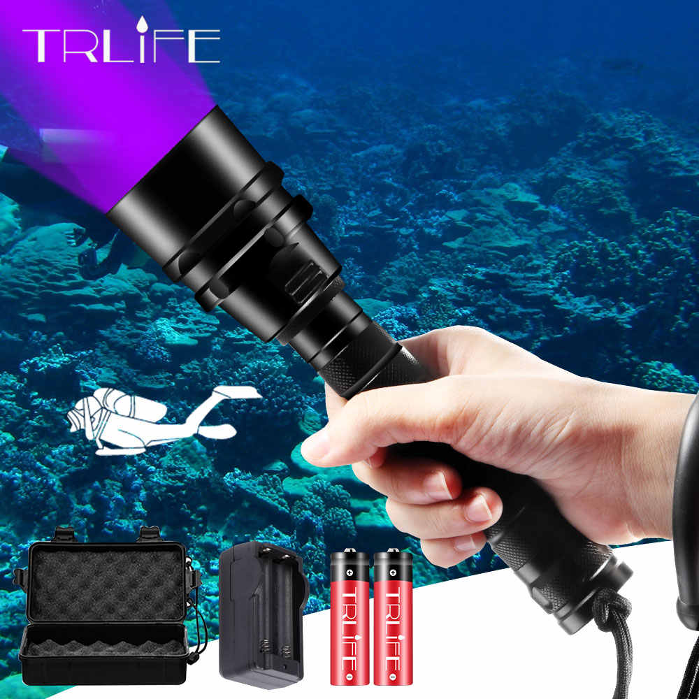 Mergulho lanterna led uv scuba ultravioleta 5/3 led lanterna luz roxa subaquática 200 m tocha de alumínio 395nm à prova dwaterproof água
