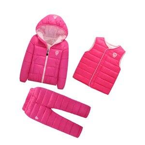 Image 5 - เด็กชุดเด็กหญิงชุดฤดูหนาว 1 7T ลงฝ้ายแจ็คเก็ต + กางเกงกันน้ำเด็กอุ่นชุด 2/3pcs