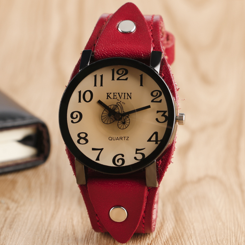 Hot Selling Punk Style Bicycle Pattern Women Wristwatch Red Leather Band Strap Classic Fashion Ladies Girls Watch tian wang hot selling ss case genuine leather band ladies watch free shipping 24 hour dispatch ls3799g 1