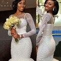 Сексуальные Африканских Белый Милая Русалка Свадебные Платья 2017 Суд Поезд Sheer Вернуться Аппликация Из Бисера Свадебное Платье robe de mariage