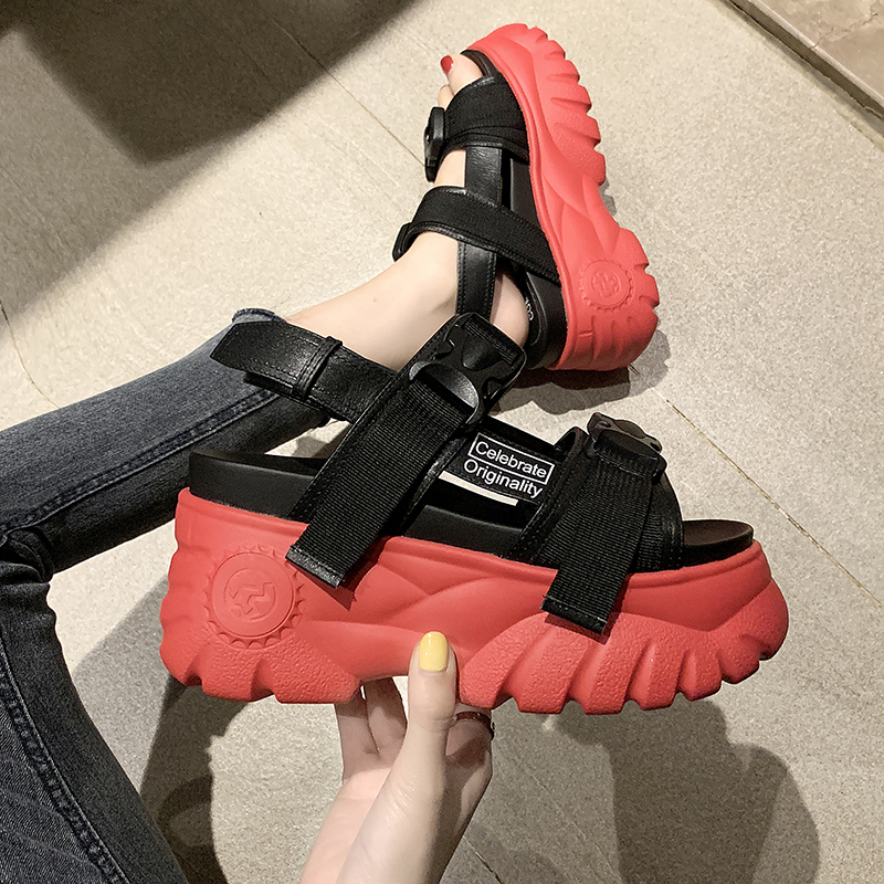 Women 39 s sandals 2019 summer new fashion platform sandals slope with Roman style casual shoes comfortable non slip sandals C1239 in High Heels from Shoes