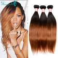 7A Brazilian Virgin Hair Ombre Human Hair Weave Bundles 3 Pcs Ombre Brazilian Straight Hair Extensions Rosa Queen Hair Products